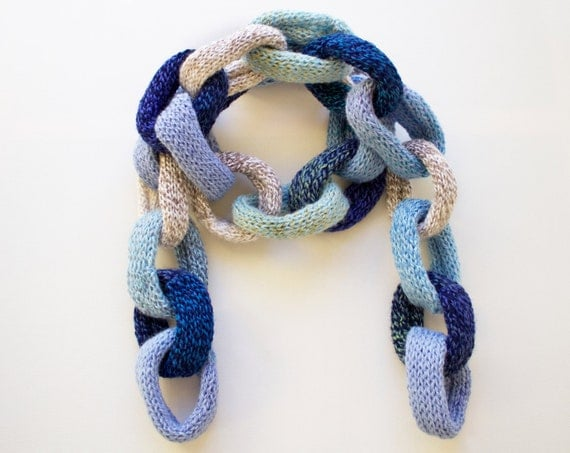 Clouds Blue Chain Scarf - Blue Chain Link Scarf - Quirky Winter Scarf in Sky Blues • Unique 2016 Winter Fashion - Light Blue Chain Scarves