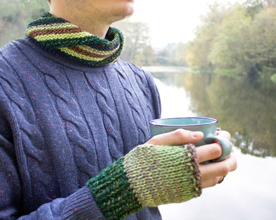 Avocado Nuzzler and Mitts Set - Green Circle Scarf with Fingerless Gloves to Match - Unisex Glove and Scarf Combo