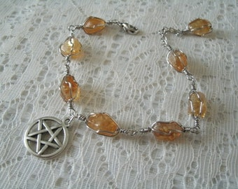 Citrine Pentacle Bracelet, wiccan jewelry pagan jewelry wicca jewelry goddess witch witchcraft pentagram magic metaphysical wiccan bracelet