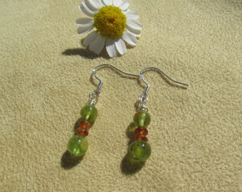 Citrine and Peridot Earrings, Prosperity, Healing Stone Earrings, Sterling Silver, Yellow and Green Earrings, Natural Gemstone Synergy