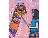 60% Off- Llama Art  Art Print Poster by Heather Galler Animal Art Girls Decor (HG587)