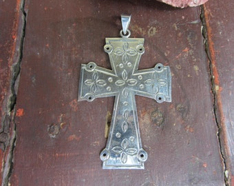 Large mexican Sterling Silver Pendant Cross crucifix