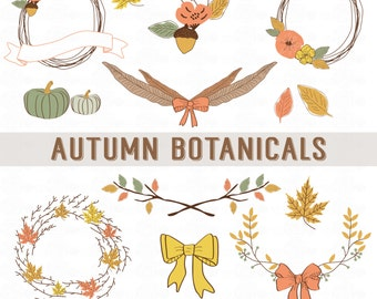 AUTUMN BOTANICALS // PNG Files // Wreaths - Banners - Bows // Fall Theme Clip Art // Personal-Use // Instant Download