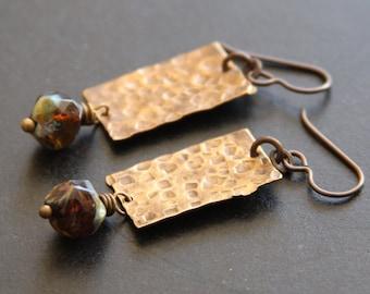 SALE Hammer Brass Earrings, Czech Glass, Rustic Earrings, Rectangle Metalwork Earrings