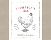 Backyard Chickens Art Print, Funny Personalized Gift, Vintage Style Kitchen Decor