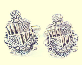 Steampunk, Coat of Arms, Family Crest Cuff Links,Men's Formal Wear,Edwardian Fantasy,Steam Punk Goth,Men's Gift,Father's Day, Prom Accessory