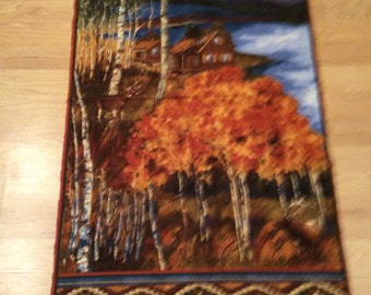 A Gorgeous Cabin In The Forest Fall Or Autumn Scenic Flannel Fabric Panel Free US Shipping
