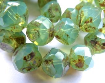 15 Czech Glass Fire Polish Translucent Light Green Opal Center Cut with Picasso Finish 11x10mm size