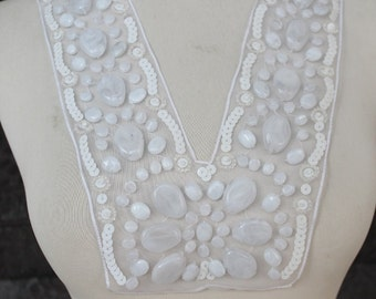 Cute embroidered   and beaded  applique white  color
