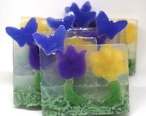 Set of 6 Butterfly Garden Soaps - party favor, spring, summer, cute, girlie, girly, flower soap, tulip, daisy, soap slices, stocking stuffer