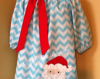 Blue Chevron Peasant Dress with Santa applique.Three quarter sleeves, can be personalized.*****Please Read Shop Announcement*****
