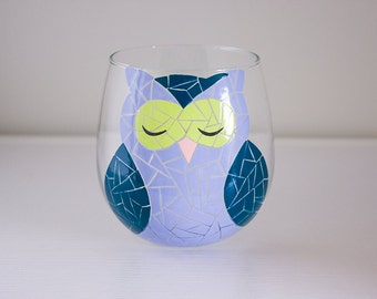 Single Periwinkle, Teal, and Blue Mosaic Woodland Owl Hand Painted Wine Glass (Stemless or with Stems)