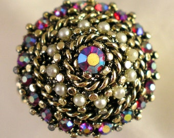 Vintage Adjustable AB Aurora Borealis Faux Pearls Cocktail Ring - Free USA Shipping