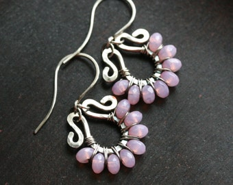 Pink wire wrapped earrings, oxidized sterling silver, Czech glass, beaded, dangle, tear drop, drop hoop, Mimi Michele Jewelry