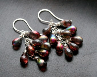 Red cluster earrings, iridescent Czech glass, sterling silver, dangle, beaded, teardrop earrings, dangle, Mimi Michele Jewelry