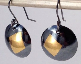 Keum Boo Earrings, Black Sterling Silver and 24K Gold Earrings, Handmade