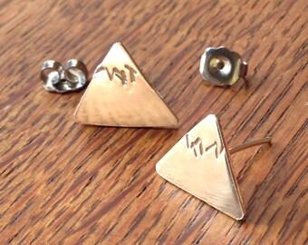 Mountain Earrings, Sterling Silver, Handmade