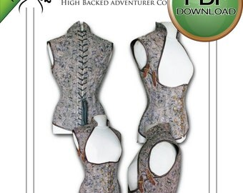 "Corset Sewing Pattern High Full  Back PDF Digital Download - size Large 32- 34 -36"" waists"