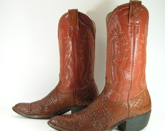 snake skin cowboy boots mens 9 D brown western python vintage leather montana