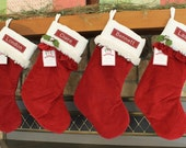 Ruffle Christmas Stocking With Monogram Pottery Barn Luxe Velvet Stocking in the Ruffle Style ---  Free Domestic Shipping, Free Monogram