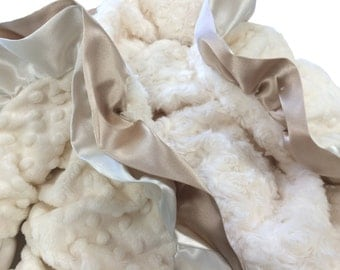 Toddler Size Minky Baby Blanket Cream Minky with Cream and Latte Double Satin Ruffle Trim