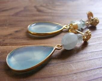 Aqua Blue Chalcedony with Aquamarine Post Earrings