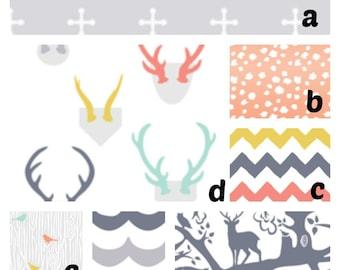 Custom Crib Bedding You Design   Bumper and Bedskirt Antlers