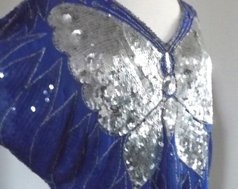 Vintage Butterfly Blouse Silk  Blouse - Royal Blue Batwing Sleeves, Silver Beaded & Sequined Top