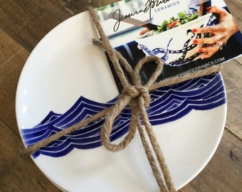 "Dinnerware set of 4 ceramic dinner plates in blue ocean wave. 8"" in diameter. Hand painted ceramic plates"