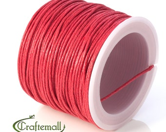 SALE 50% OFF: Red waxed cotton cord - 1mm waxed cotton cord - 1 roll (25meters)