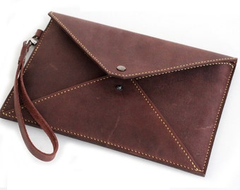 ZENOK SPECIAL Hand Stitched iPad mini Leather Envelope Case in Deep Burgundy