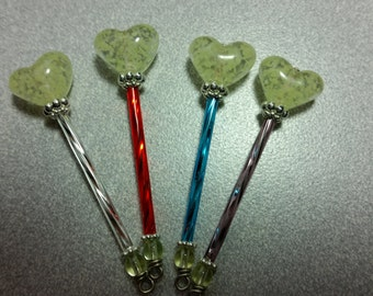 Tooth Fairy Wand - GLOW in the dark Heart - You choose stem color