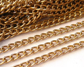 10ft Gold Curb Link Chain Aluminum Chain Jewelry Findings ac090