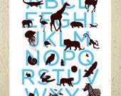 Kids wall art - Alphabet print - blue and brown animal ABC art print by Erupt Prints