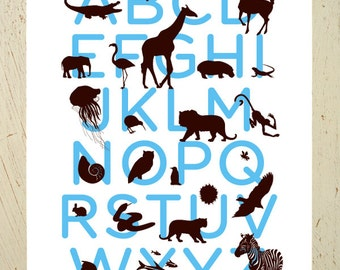 Kids wall art - Alphabet print - blue and brown animal ABC art print by Erupt Prints. Large size