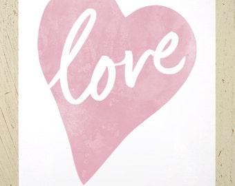 Love Heart - typographic art print - dusky pink. Watercolour love print by Erupt Prints