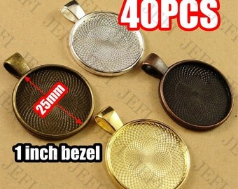 40 Pendant Trays- 25mm Round Bezel Cup Cabochon Mountings W/ Loop, Bronze/ Antique Copper/ Antique Silver/ Silver/ Gold/ GunMetal- HA1233