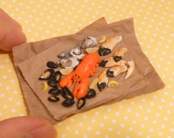 Miniature Dollhouse Seafood - Oysters, Lobster, Mussels, Snow Crab legs with lemon wedges