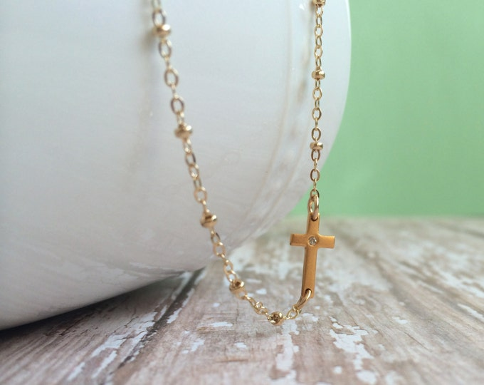 "Tiny Diamond Gold Cross Necklace--16"" or 18"" in Length"