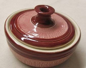 Lidded Jar Sugar Bowl Trinket Jar Ceramic Pottery Handmade  Fire Brick Red and Weeping Plum Glaze  Dish Lidded Bowl Chattered Pottery