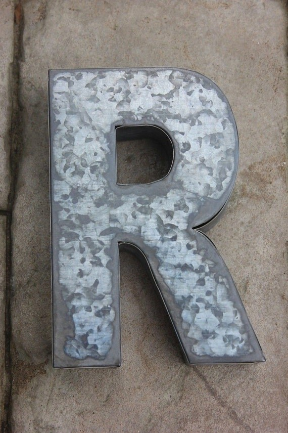 Large metal letter zinc steel initial home room decor diy for Large metal monogram letters