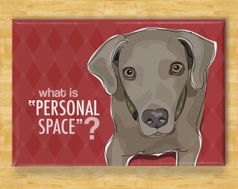 Weimaraner Magnet - What is Personal Space - Weimaraner Gifts Funny Refrigerator Fridge Magnets