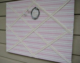 Pin Board with pink and taupe stripes and embroidered lace detail, display photos or jewelry with designer pushpins, girls room decor