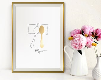 30% Off SALE: Wedding Gift Gold Foil Print / Engagement Gift Let's Spoon / Bedroom Decor / Minimalist Poster / Wall Art / Romantic Gift