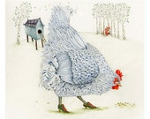 Chicken and fox print Chicken in Silver Shoes Giclee print 8x11