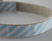 Hemp Dog Collar - Light Blue Stripes - 3/4in
