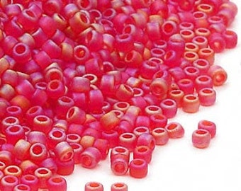 Glass Seed Bead Dyna-Mites Frosted Rainbow Red Size 11/0 Round 100 Gram Pkg. Matsuno Japan Craft Room Multi Art Craft Supplies