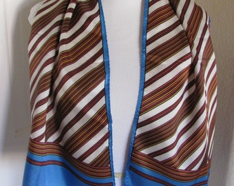"""Scarf SALE Lovely Retro Brown Blue Glentex Acetate Scarf - 13"""" x 40"""" Long  - Affordable Scarves!!!"""