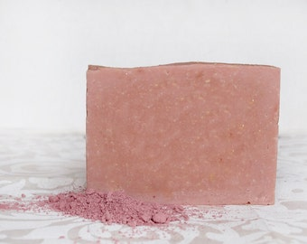 Rose Clay & Wild Rose cold process Soap - based on Greek Olive Oil