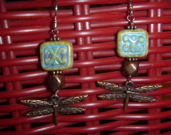 Turquoise Czech glass and dragonfly earrings with sterling silver hooks